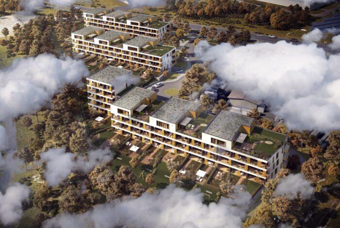 Letecký pohled na projekt Bleriot z dílny zahradního atelieru Flera