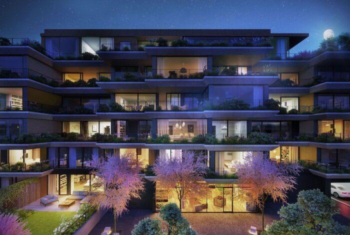 Projekt Sakura od autorů z atelieru Flera využívá i koncept visutých zahrad